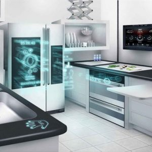 Making hard work in the kitchen a thing of the past, this smart kitchen integrates new technologies and innovative design. Appliances will communicate with each other and hologramed celebrity chefs will help with the cooking.